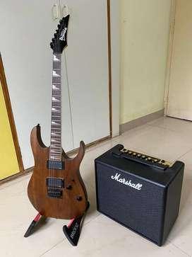 Ibanez GIO electric guitar w/ Marshall Code 25 and EMG active pickups