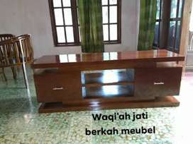 Meja tv minimalis modern, P. 150cm, laci 2, bahan kayu jati tua asli