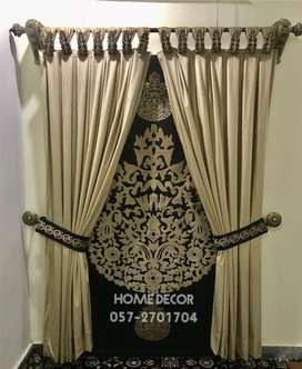 Roman blind with curtains