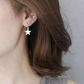 Anting wanita Tusuk Earrings Silver Bintang Perhiasan Fashion