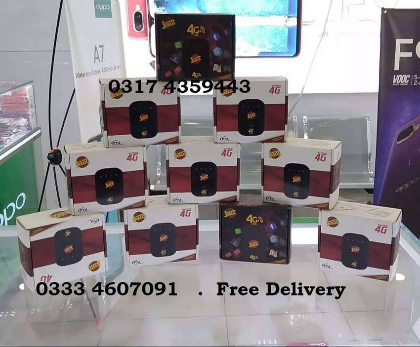 JAZZ 4G CLOUD WIFI PAKG 1000-25GB 1500-60Gb 2500-150GB Free Delivery 0
