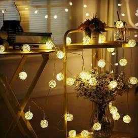 Lampu Hias Dekorasi Bola Rotan String Fairy