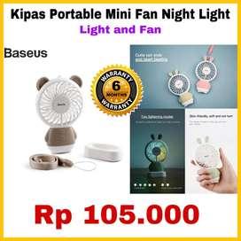 Kipas Mini Portable ORIGINAL BASEUS - PROMO READY - Lampu Tidur