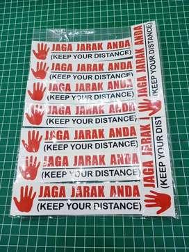jual stiker jaga jarak / stiker custom murah
