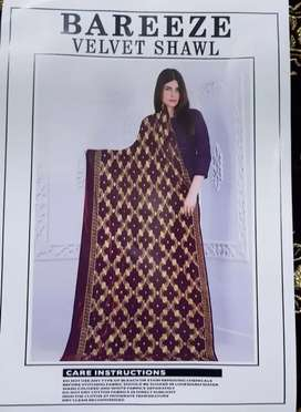 Ladies Unstitched Clothes And Velvet Shawl