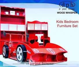 Kids Sports Car Bed with Shelf and Study Table
