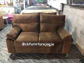 sofa dobel sandaran murah, ada warna d,brown