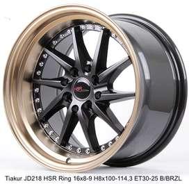 velg new TIAKUR JD218 HSR R16X8/9 H8X100-114,3 ET30/25 BK/BZL