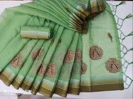 Sarees, Soft slik cotton sarees, linen Sarees