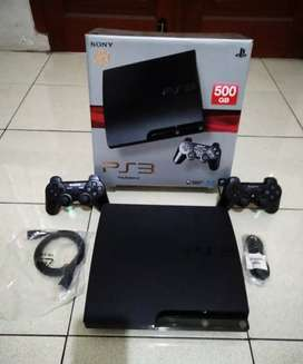 PS3 SLIM 500GB Fullset (2 Stik Full 50 game)