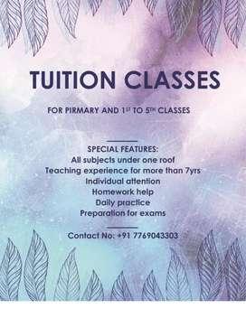 Home tutor for classes 1 to 5 standard,(not hiring teacher)
