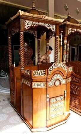 mimbar masjid kayu  jati ukir