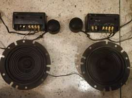 Fujitsu speakers with crossovers and tweeters Japanese audio system.