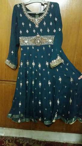Green and copper embroidered frock for sell (3pcs)