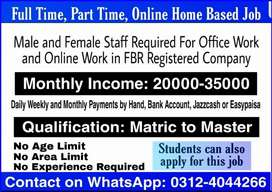 Job for students,males,females(Part time, Full time, Home Based jobs)