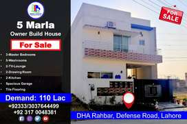5 Marla Owner Build House for Sale in DHA Rahbar, Defense Road, Lahore