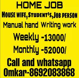 Part Time Handwriting Job Weekly Salary ₹13000