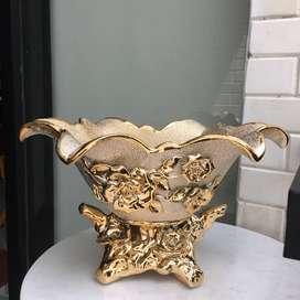 Dijual Best Home Vas Bunga Gold Pajangan Keramik Size Rendah