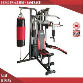alat fitnes home gym 3 sisi dan samsak 75 kg bisa COD bayar ditempat