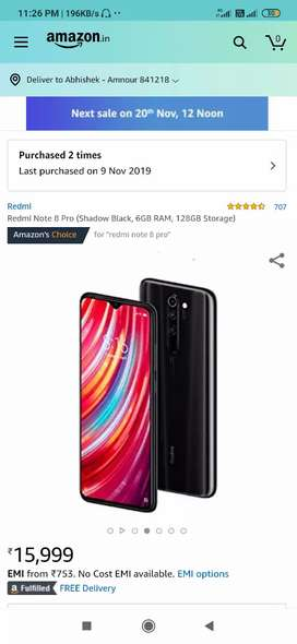 Redmi note 8 pro shadow black unboxed phone..