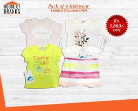 Baby Girl Imported Brands T-Shirts - Pack of 4