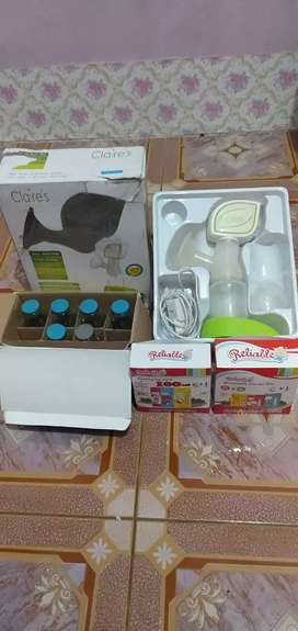 Seperangkat pompa ASI + botol kaca + kantong ASI