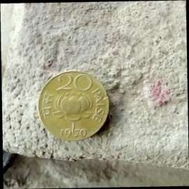 20 paise lotus coin gold 1970