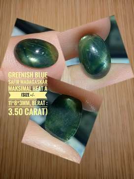batu permata greenish blue safir madagaskar non gf max heat A