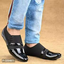 Elegant and stylish black patent  casual shoes for men