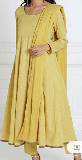 Mustard anarkali with trousers