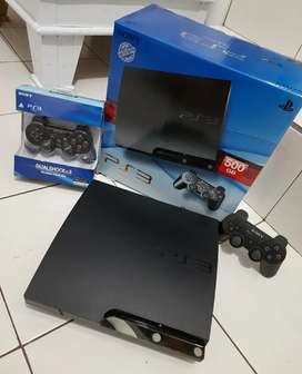 Ps3 Slim Fullset 2 Stiknya 500GB hardisknya full 100 game puas eaa