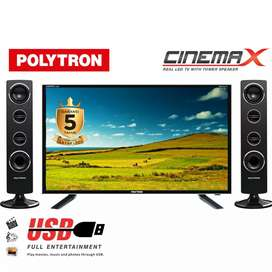PALING MURAH LED TV POLYTRON 32 INCH 32T1500 TOWER SPEAKER CINEMAX
