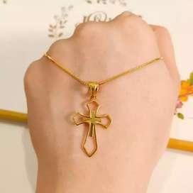 Terlaris Set kalung salib minimalis elegant emas asli Elegan