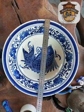 Mangkok China tua gambar ikan diameter 37 cm