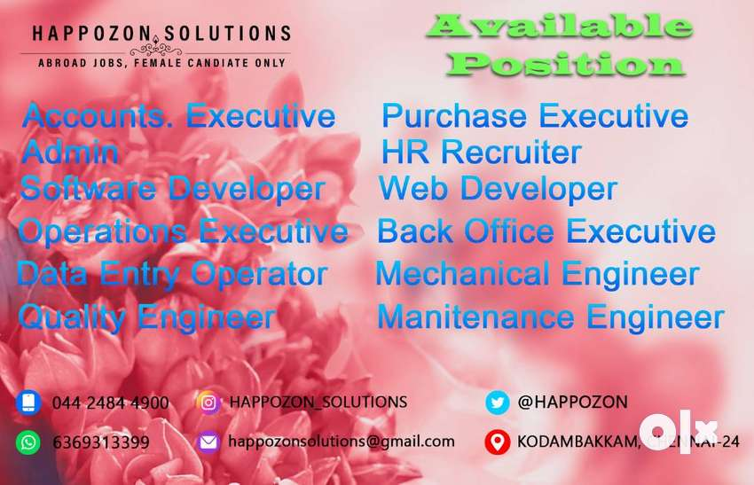 50+ openings are available ! DATA ENTRY / QUALITY ENGINEER / HR