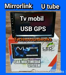 Head unit tape tv mobil no PHP jamin tetap termura USB utube mp4 GPS