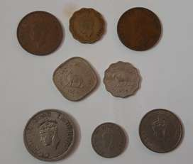 Old British India coins set