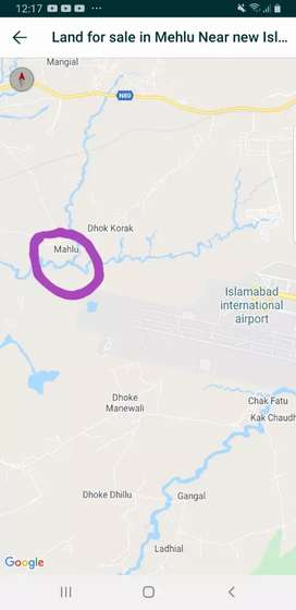 Land for sale in Mehlu Near new Islamabad international airport
