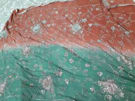 Full mukesh dupatta and designed shirt with shalwar