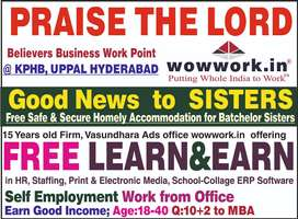 good news for single ladies free Accommodation + Earn in HR @KPHB