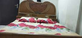 Wooden bed with dressing table free