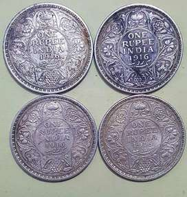 Antique 1862-1919 one rupees Silver Coin Each Final Price