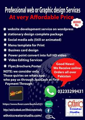 Affordable Graphic or web design service all over Pakistan