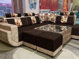 ₹16300 only new brand new L shape sofa set with 1tble nd 2puffies