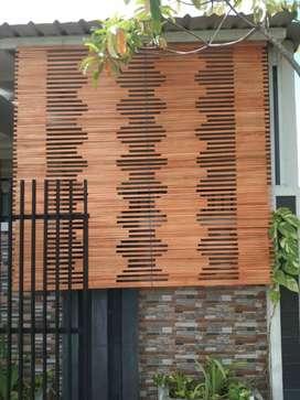 Kulit bambu dan tirai rotan dan kayu