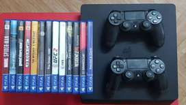 PS4 slim 500 Gb with extra controller and the games shown in the image