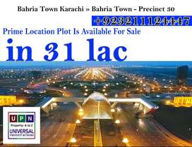 Prime Location Plot Is Available For Sale In Precinct-30, Bahria Town