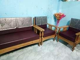 Tita Chapa wood Sofa (2+1+1 )with leatherette cushion to sell