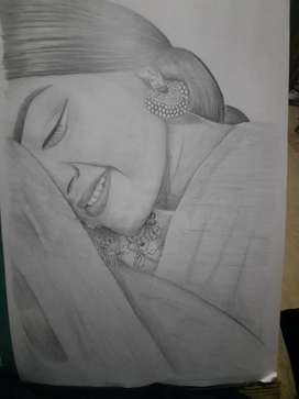 Handmade Pencil Sketch Drawing Art for Gift and Weeding