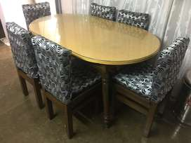 Dining table made of sal tree wood with 6 chairs & age of 3 year